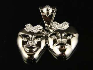 WHITE GOLD FINISH COMEDY/TRAGEDY THEATER MASK CHARM