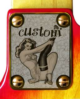Neck Plate Gold 4 Fender P J Bass Guitar PinUp Stocking   FREE