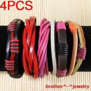 Wholesale lots ethnic tribal 4pcs genuine leather bracelet B29