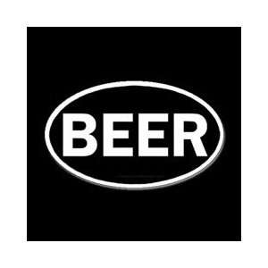 6 White Beer Oval Euro Vinyl Die Cut Decal Sticker
