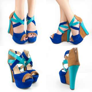ROYAL BLUE TURQUOISE TAN OPEN TOE MARY JANE HIGH HEEL PLATFORM WEDGE