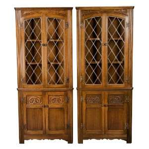 Pair of Antique Oak Leaded Glass Corner Cabinets
