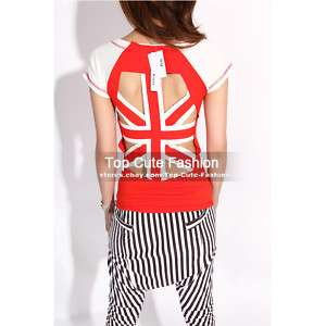 Cut Out Backless Cocktail Top T Shirt Blouse #181 Red