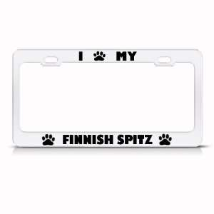 Finnish Spitz Dog White Animal Metal license plate frame