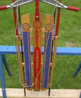VINTAGE Wooden Snow Toboggan FLYER Sled BEAUTIFUL WOW!