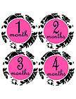Monthly Onesie Stickers Black hot Pink Damask Keepsake Baby Mom Shower
