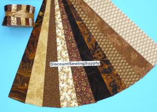 Brown Jelly Roll Beige Tan Chocolate Fabric Quilt Strips Die Cut Rust