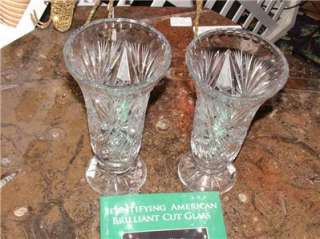 Rare PAIR of Vases American Brilliant ABP Cut Glass Antique