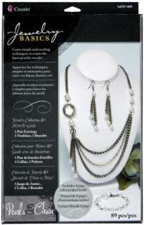 Jewelry Making Kit Earrings Necklace Bracelet ~ PEARLS & CHAIN CRYSTAL
