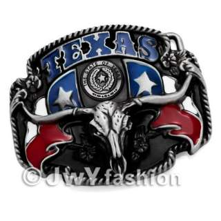THE STATE OF TEXAS OX Bull Head Mens Buckle Leather Belt vr091