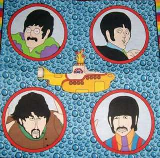 BEATLES FABRIC Yellow Submarine QUILT PILLOW PANELS