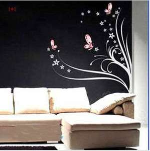 Beautiful Butterflies Flowers Vine Vinyl Wall Paper Decal Art Sticker