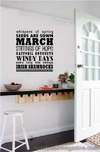 Subway Art March Vinyl Stickers Wall Decal Word Letters