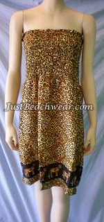 Leopard Print Sundress Jaguar Tube Sun Dress Cheetah