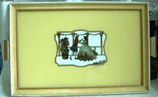 ART DECO REVERSE PAINTING ON GLASS TRAY SILOUETTE NICE