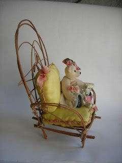 MINIATURE artist TEDDY ooak ROOSEVELT BEAR CO w chair