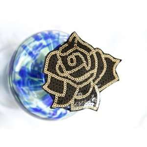 Black and Gold Sequin Beaded Rose Flower