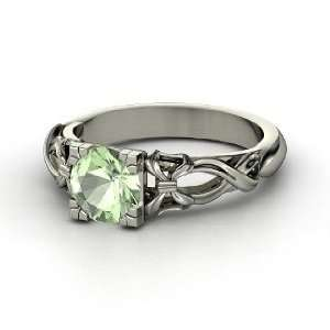 Ribbon Ring, Round Green Amethyst 14K White Gold Ring Jewelry