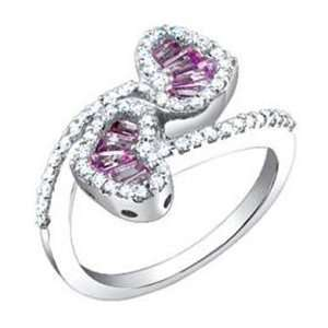 Carat Diamond Pink Sapphire 14k White Gold Heart Design Promise Ring