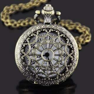 Unique Bronze Spider Web Quartz Mens Quartz Pocket Watch Free Necklace