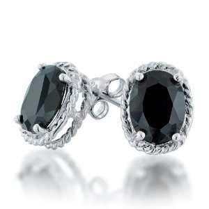 Sterling Silver Braided Oval Black CZ Black Stud Earrings Jewelry