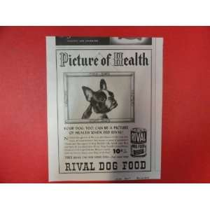 Rival dog food, 1950 Print Ad (Bulldog.) Orinigal Vintage