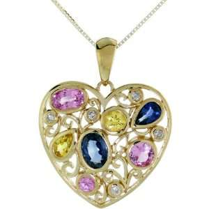 colored Heart Pendant, w/ 2.00 Total Carat Blue, Pink, Yellow & White