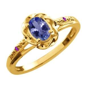 0.46 Ct Oval Blue Tanzanite Purple Amethyst 18K Yellow
