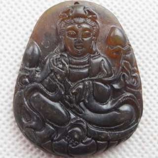 A0064964 Carved Chinese Old Jade Kwan yin pendant bead