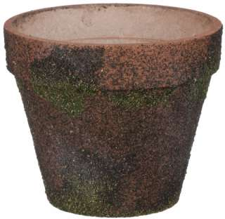 This set of 12 terra cotta moss covered flower pot makes a beautiful