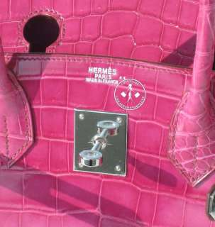 30 HERMES BIRKIN BAG  SHINY FUSCHIA NILOTICUS CROCODILE  PALLADIUM