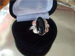 Black Hills Gold Oval 4ct Onyx 10K /Sterling /S Ring