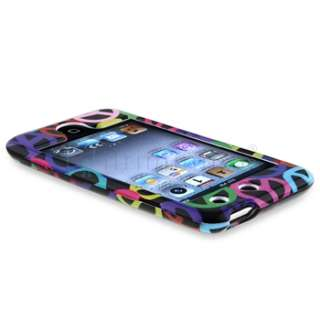 For iPod touch 4 4th G Black Rainbow Peace Sign Hard Case Cover