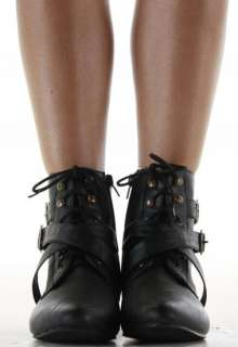 Heel Pixie Vintage Retro Style Winter Lace Up Ankle Boots Size