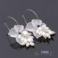 Fashion Elegant White Flower Beads Tassel Earrings Girl Gift Accessory