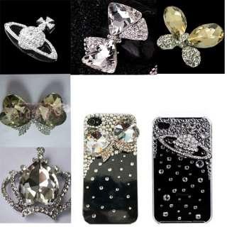 DIY 3D Alloy rhinestone crystal Camellia or Bow Bling Phone Case Deco