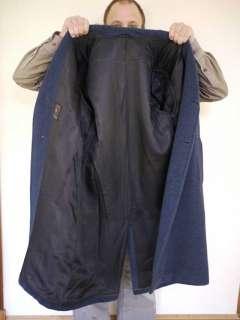 Vtg 50s Heavy Navy Blue Wool Mens Winter Overcoat