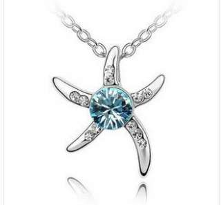 Womans Crystal Love Starfish Platinum Plated Pendant Necklace Fashion