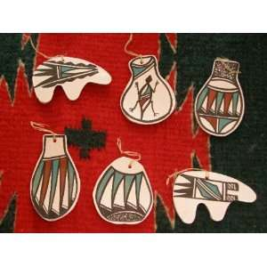 Native American Painted Christmas Ornaments  6 piece set