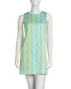 JB by Julie Brown Printed Poplin Shift Dress, Turquoise/Yellow