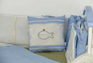 10 Pcs blue & white embroidered crib bedding set 002