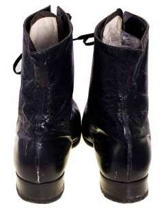 Victorian Lady Black Leather Lace Up Boots Modern 6.5N