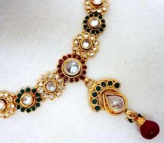Bollywood Indian Mughal Polki RED GREEN GOLD Drop Earrings Collar
