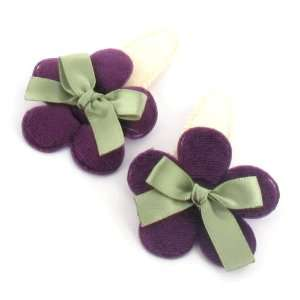 Toddler/Girl/Teenager Flower Shaped with ribbon Bow Hair Clip (6136 2