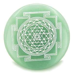 Sri Yantra Chakra Talisman Green Aventurine Magic Gemstone