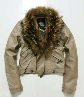 New With Tags Just Cavalli Womens PU leather Short Jacket Beige D.G