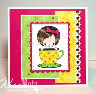 TABITHA TEACUP GIRL Stamping Bella Unmount Rubber Stamp