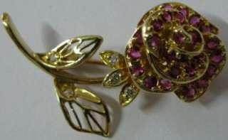 Ltd Edition Franklin Mint Solid 18K Gold Ruby Diamond Faberge Brooch