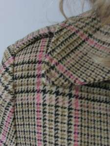 CLUB MONACO SOFT HOUNDSTOOTH PLAID PATTERN WOOL MILITARY TRENCH COAT