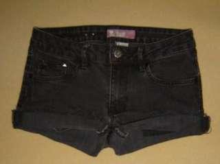 Jeans BLACK STUDDED Stretch CUT OFF Festival DENIM Cutoffs SHORTS